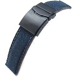22mm MiLTAT Navy Blue Washed Canvas Watch Band, Dark Grey Wax Stitching, BK-Chamfer Clasp