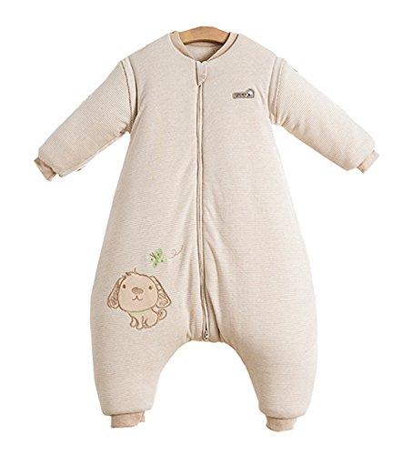 Fleece-schlafanzug (Chilsuessy Baby Winter Schlafsack Langarm 3.5 Tog Bio Baumwolle Kinder Schlafsack Schlafanzug mit abnehmbar Langarm, Beige, L/Koerpergroesse 95-110cm)