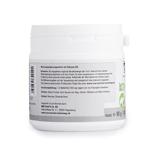Vitamin D3 Hochdosiert | Vitamin-Pulver als Nahrungsergänzung für Alltag, Sport, Fitness & Bodybuilding | Immunsystem stärken | TNT Premium Qualität aus Deutschland - 90g - 3
