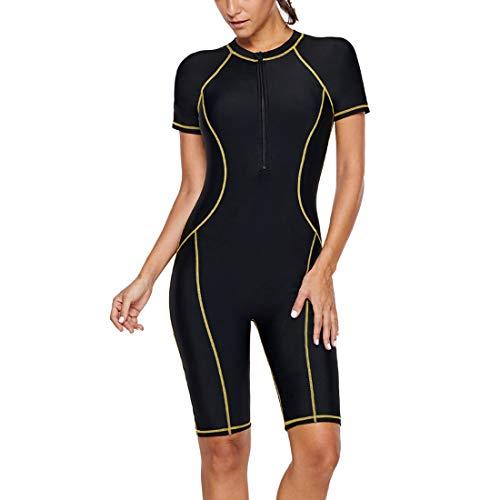 GWELL Damen Nylon Tauchanzug Schnorchelanzug Kurzarm mit Sonnenschutz Einteiler Badeanzug Wetsuit Surfanzug Schwarz M