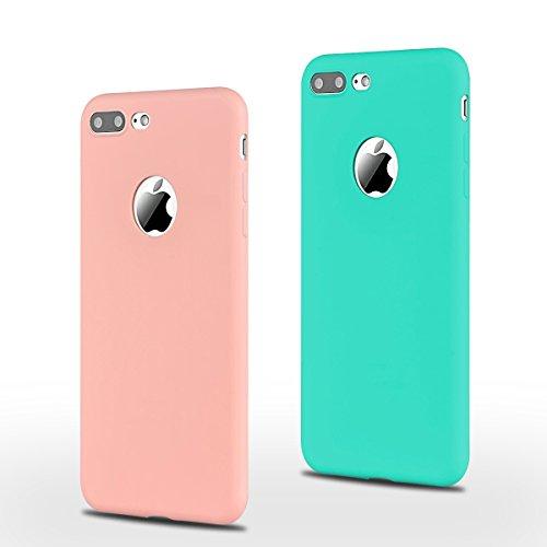 2x Morbido Apple iPhone 7 (4.7 pollici) Custodia , SpiritSun iPhone 7 TPU Custodia per iPhone 7 Moda Flessibile Sottile Molle Custodia Silicone Morbido Copertura Leggero Protettiva Cellulari cover Ant Rosa + Blu
