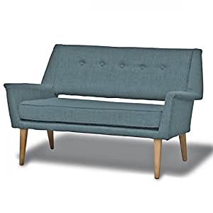 Canapé 2 places design en toile bleu azur Brando