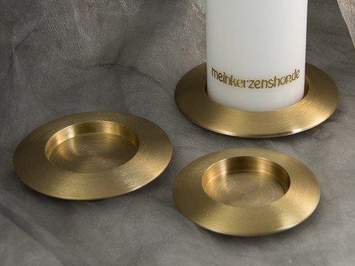 Kerzenteller Kerzenständer Kerzenhalter für Hochzeitskerze Taufkerze gold 16638, Größe:7 cm innne