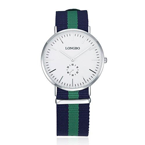 Faysting EU donna orologio da polso orologio al quarzo con corda tela verde scuro blu (Quarzo Verde)