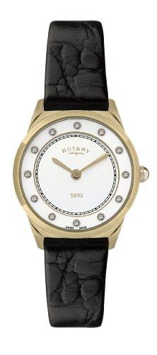 Rotary Ultraflach LS08003/02 - Reloj analógico de cuarzo para mujer, correa de cuero color marrón