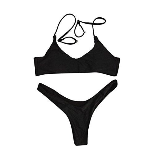 Kword Set Bikini da Donne SEXY Push-Up Swimwear Reggiseno Imbottito Benda Bikini Set Costume Da Bagno Balneare Bikini Coordinati Nero
