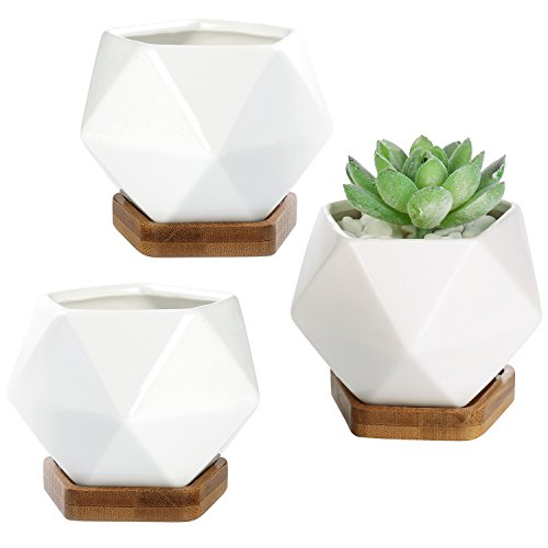 MyGift Blanc en céramique 7,6 cm géométrique Mini pots de fleurs artificielles amovibles avec plateaux en bambou, Lot de 3