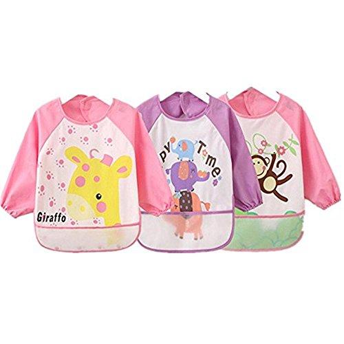 Oral-Q Unisex Niños Childs Artes Artesanía Pintura delantal impermeable del bebé Babero con mangas y bolsillo, 6-36 meses, recogerá de