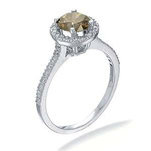Bague Femme Diamant champagne (1.30 Karat) T54, Or blanc 585/1000