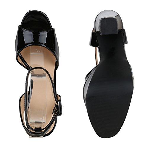 Damen Plateau Sandaletten | Peeptoes Party Schuhe | Pumps Blockabsatz High Heels |Satin Samt Strass Fransen Schwarz Lack