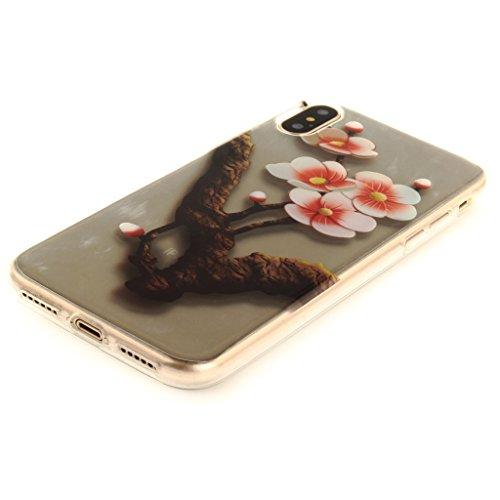 Cover iPhone X , YIGA Moda Fiore di pesca Trasparente Morbido TPU Silicone Flessibile Gel Guscio Cover Protettiva Bumper Case Protezione Copertura Custodia per Apple iPhone X (5,8) TX36