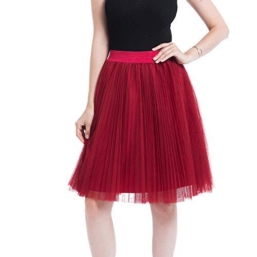 WOZOW Damen Tüllrock Einfarbig Midi mit Falten Freizeit Elegant Tanzkleid Frauen Karneval Halloween Kostüm Prinzessin Eine Linie Kleider (65-120,Rot)
