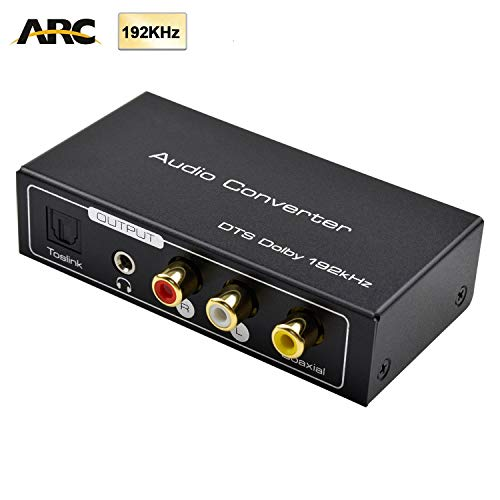 AMANKA HDMI ARC Audio Extractor,Digital HDMI ARC zu SPDIF Koaxial Optical Cinch L/R Stereo Ausgang 3,5mm 192KHz Digital HDMI Audio auf Analog for für Blu-ray DVD PS4 TV