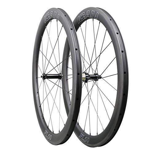 ICAN 700C Roues de Roue de Vélo de Route de Carbone 50mm Clincher Tubeless Prêt 1470g