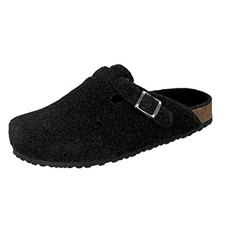 Softwaves 511-064 Herren Hausschuhe klassische Filz Pantoffeln schwarz (46, schwarz)