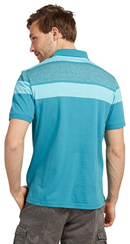 Tom Tailor für Männer Polo Polo-Shirt mit Blockstreifen Bay Blue