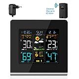 Wetterstation ZEEPIN Funkwetterstationen mit LCD Farbdisplay inkl. Außensensor (Temperatur & Luftfeuchtigkeitsanzeige | Datumsanzeige| Wettervorhersage-Piktogramm/Tendenzanzeige | Wecker) Wetterstation