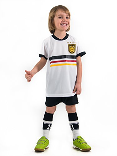 Fußball Trikotset Trikot Kinder 4 Sterne Deutschland WUNSCHNAME Nummer Geschenk Größe 98-170 T-Shirt Weltmeister 2014 Fanartikel EM WM (128) (Europa Mädchen T-shirt)