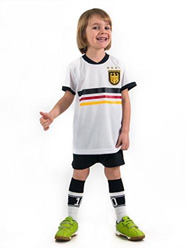 Fußball Trikotset Trikot Kinder 4 Sterne Deutschland WUNSCHNAME Nummer Geschenk Größe 98-170 T-Shirt Weltmeister 2014 Fanartikel EM WM (98) (4 Kinder-t-shirt)