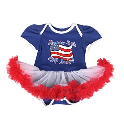 Sasstaids Heißer Baby KleidNeugeborenes Baby Baby Sterne Sterne 4. Juli Strampler Tüll Einsätze Kleid Outfits gestreift Swing Kleid (Für Juli-outfits 4. Frauen)