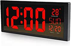 FortuneVin Reloj de Pared decoración Reloj de Cocina Display Digital de una Alarma silenciosa sin Studentsred