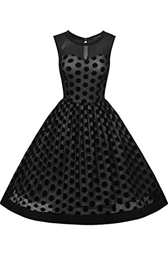 Frauen Ärmellose Polka - Dot - Swing - Cocktail - Party - Kleid Black