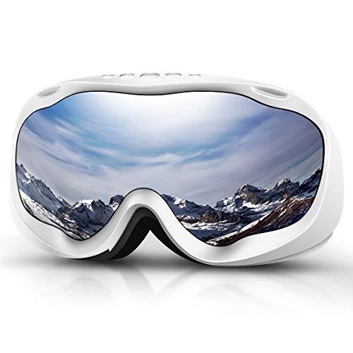 Skibrille, Herren Damen Snowboardbrille Erwachsene über Gläser OTG, UV400 Schutz mit Anti-Beschlag, Skibrille Winddicht Ski-Schutzbrillen für Motorrad Fahrrad Skifahren Skaten (Verspiegelte Linse)