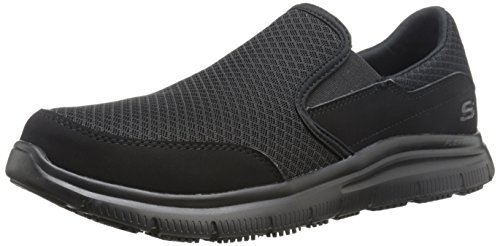 Skechers Men's Black Flex Advantage Slip Resistant Mcallen Slip On - 7.5 2E US