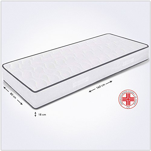 Colchón fuera tamaño individual 80x 160x 18cm, ortopédico, con dispositivo médico, Markus (expandido antiácaros y funda antiallergica transpirable, colchón fuorimisura de poliuretano para cama individual fuera de tamaño