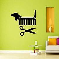 Creative Vinyl Wall Art Sticker Pet Shop Pet Grooming Salon Cat Dog Scissors Comb Wall Decals Decoration 56x56cm