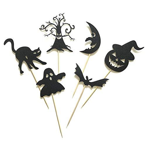 Ruda 6 Stücke Cupcake Toppers Halloween Mond Elf Kuchen Papier Topper Für Party Geburtstag Liefert Baby Dusche DIY Schwarz