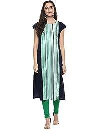 Ziyaa Women's Multicolor Color Striped Straight Crepe Kurta (ZIKUCR1826)