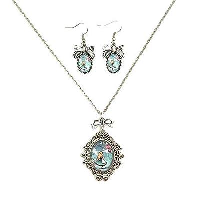 Parure Alice au Pays des Merveilles/Alice in Wonderland : Collier et boucles d'oreilles cabochon en verre d'inspiration vintage