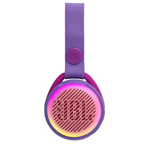JBL JR Pop Mini-Boombox für Kids in Lila - Poppiger, wasserdichter Bluetooth-Lautsprecher mit eingebauten Lichtmotiven - Bis zu 5 Stunden Musik hören mit nur einer Akku-Ladung