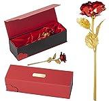 Remmo&Love ROT Goldene Gold Rose mit Gravur (24 Karat Gold veredelt) inklusive Echtheit-Zertifikat Edel Geschenk-Box Valentinstag Jahrestag Hochzeitstag Weihnachtsgeschenk Geburtstag Geschenke
