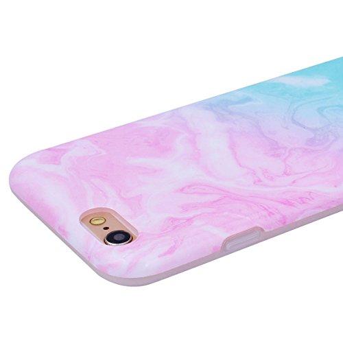 "WE LOVE CASE iPhone 6 / 6s Hülle Marmor FarbeiPhone 6 / 6s 4,7"" Hülle Schutzhülle Handyhülle Weich Silikon Handytasche Ultra Dünn Flexibel Cover Case Etui Soft TPU Handy Tasche Schale Schlank Backcove green +Pink Gradient"