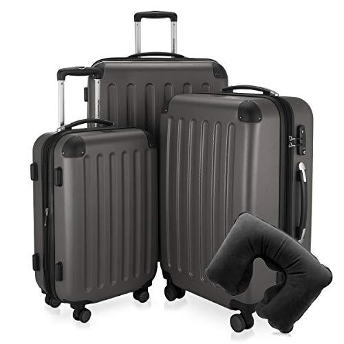 Hauptstadtkoffer - Spree - 3er-Koffer-Set Trolley-Set Rollkoffer Reisekoffer-Set Erweiterbar, TSA, 4 Rollen, (S, M & L), Graphit inkl. Reise Nackenkissen