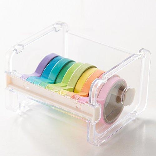 Tape-cutter (demiawaking Desktop Tischabroller Washi Tape Cutter Multi Rolle Tape Spender Klebeband-Halter Organizer Aufbewahrungsbox)
