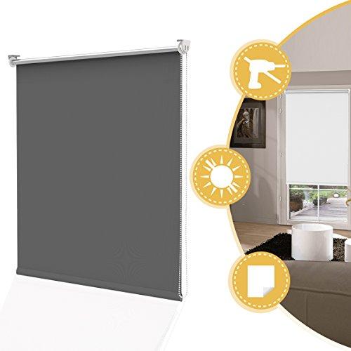 Deswell tende a rullo oscurante per interni grigio 50 x 160 cm (lxa), tenda rullo avvolgibile rivestimento termico montaggio senza fori