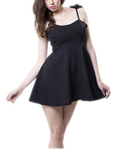 ... Arrowhunt Damen Mädchen Taille Ärmellos Rückenfrei Einfarbig Super  Minikleid Party Kleider Lange tops Schwarz ...