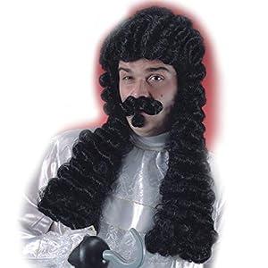 Carnival 2724-Peluca Capitán gancho con bigote de maletín
