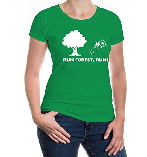 buXsbaum® Girlie T-Shirt Run forest run Kellygreen-White