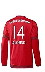 FC Bayern Home Trikot langarm Herren 2016 - ALONSO 14, Größe:3XL