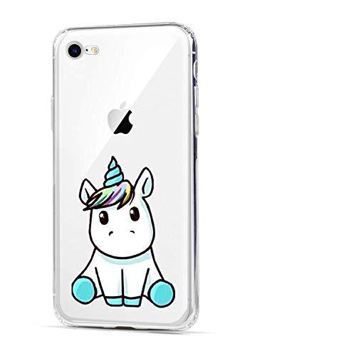 HUIYCUU Schutzhülle kompatibel mit iPhone 8 für iPhone 7, niedliches Tier-Design, schlanke Passform, weiche TPU-Schutzhülle mit lustigem Muster für Mädchen, dünne transparente Rückseite, Einhorn