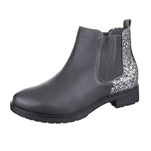 Grau Boots Ital W152 Chelsea design Donna Sv55qHw