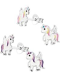2 Paar Kinder Jugendliche Mädchen Ohrringe Ohrstecker 925 Silber Einhorn Unicorn Pferd