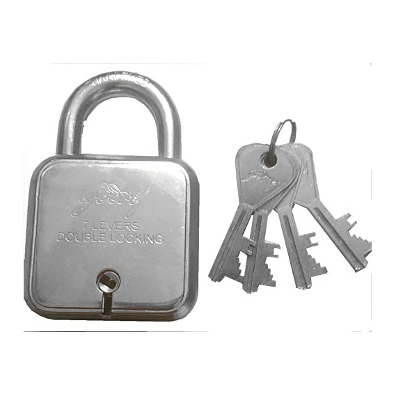 Godrej 8153 Steel Square Padlock Set (Silver, 5-Pieces)