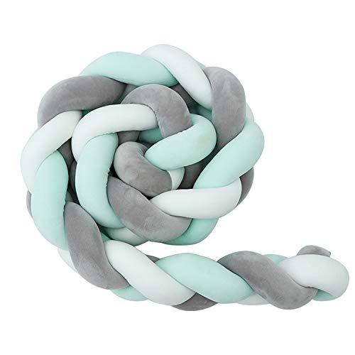 Luchild Bettumrandung Babybett Länge 2m Baby Nestchen Bettumrandung Weben Geflochtene Stoßfänger Dekoration für Krippe Kinderbett (Grau + Weiß + Grün)