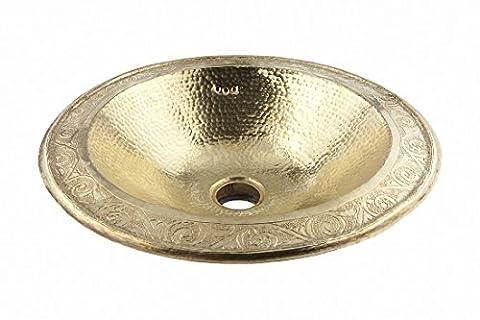 Rund Kupfer handgefertigtes marokkanisches Bad - Waschbecken- gehämmert & eingraviert - D39 H12 Cm - BEGRENZTES