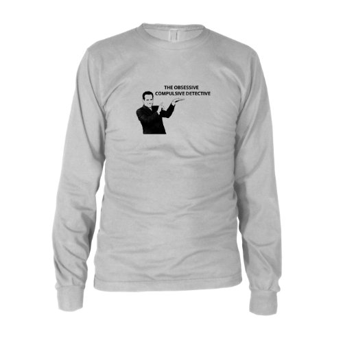 Monk Kostüm Adrian - The Obsessive Compulsive Detective - Herren Langarm T-Shirt, Größe: XXL, Farbe: weiß